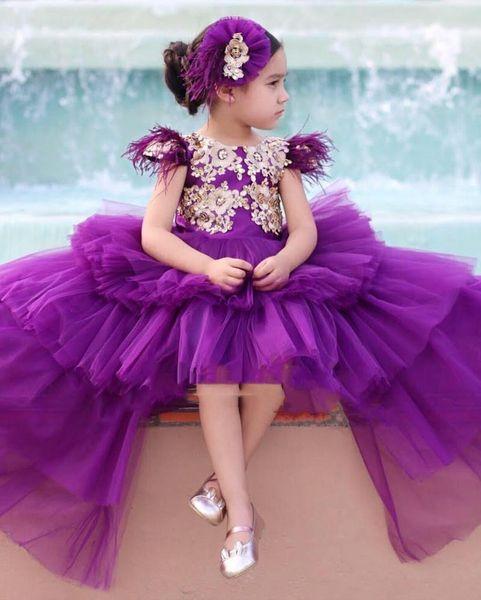 Şık Yüksek Düşük Mor Kız Yarışması Elbise Prenses A Hattı Altın Aplikler Uzun Bebek Çocuk Çiçek Kız Parti Balo Abiye