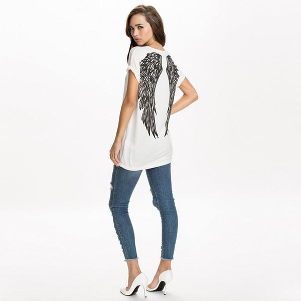 Nuevas camisetas de primavera y verano para mujer, alas de ángel únicas, impresión trasera, camiseta suelta de manga corta, camiseta para mujer, camiseta G1072 Y19072001