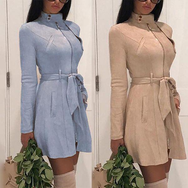 2019 Spring Suede Trench Coat For Women Classic Vintage Cotton Windbreaker Female Overcoat Adjustable Waist Plus Size Long Coats
