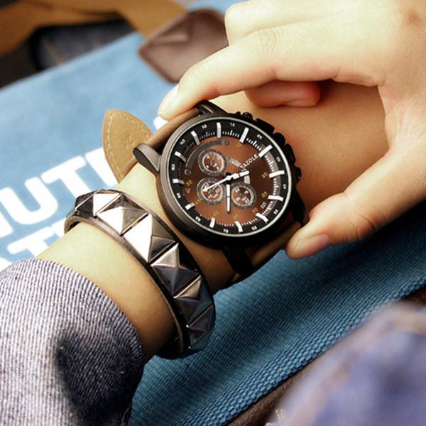 Neue ankunft männer uhr luxus top marke business männliche uhr quarz-armbanduhr freizeit leder quarz uhr mannen horloge # vb30