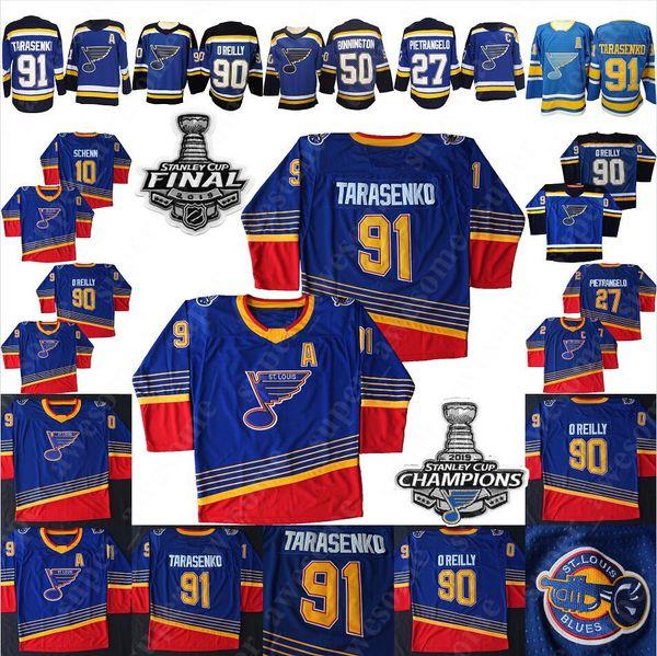 top popular NEW 90s Vintage St. Louis Blues Vladimir Tarasenko Jersey Ryan O'Reilly Alex Pietrangelo 50 Binnington Brayden Schenn Hockey Jerseys Blue 2019