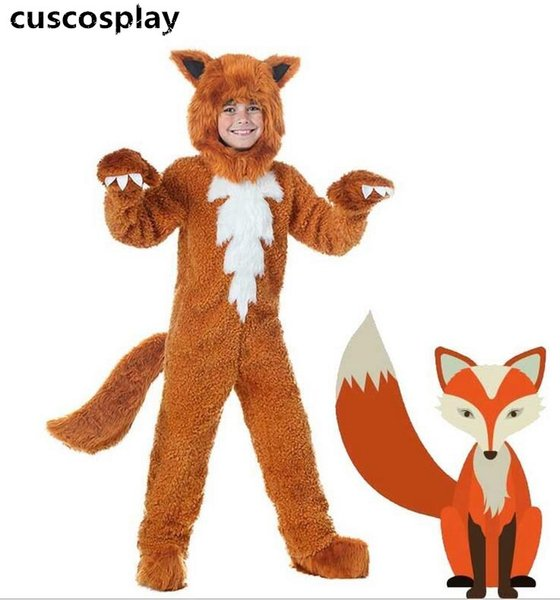 Fox Costume Cute Animal Onesies Fancy Dress For Adult and Kids Halloween Performance Cartoon Costume mascot