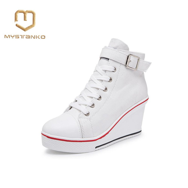 Casual flat shoes Women's casual lace-up shoes Muffin heel Wedge high top sneakers women's tennis .SP-013
