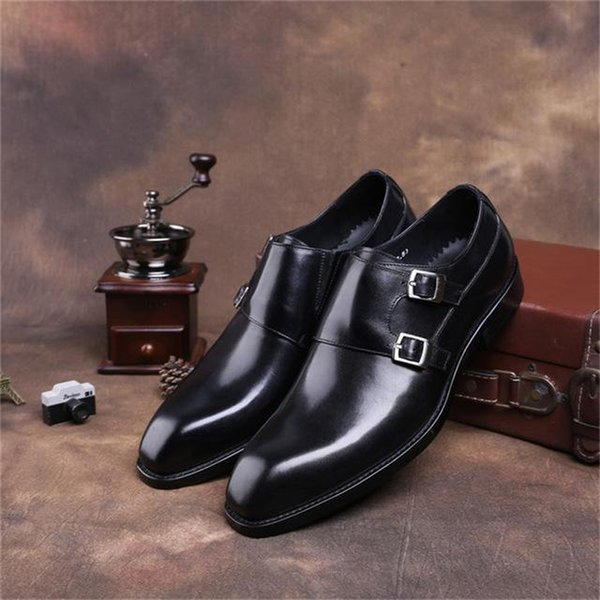 Fashion Black / Brown Double Monk Strap Shoes Mens Business Dress Shoes Genuine Leather Wedding Boys Formal Prom