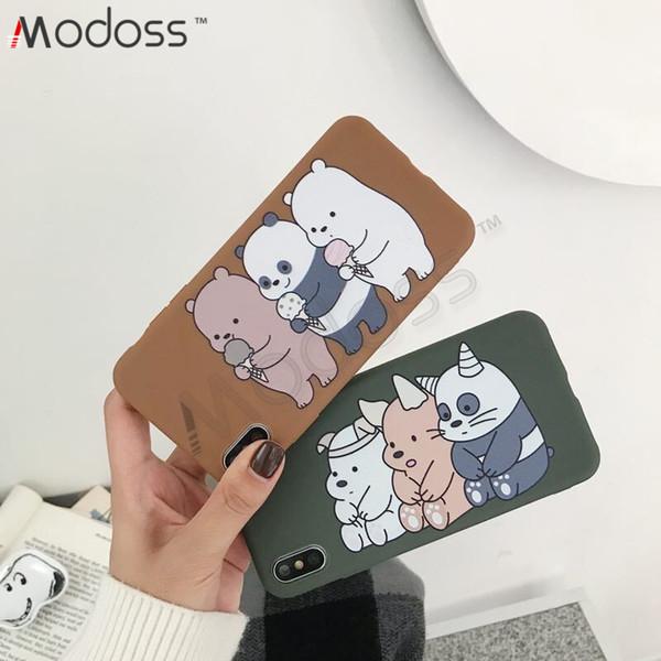 ZZYD Soft TPU Cute Bear Panda Cartoon Full Protective Back Cover Phone Cases For iPhone X XR XS XS MAX