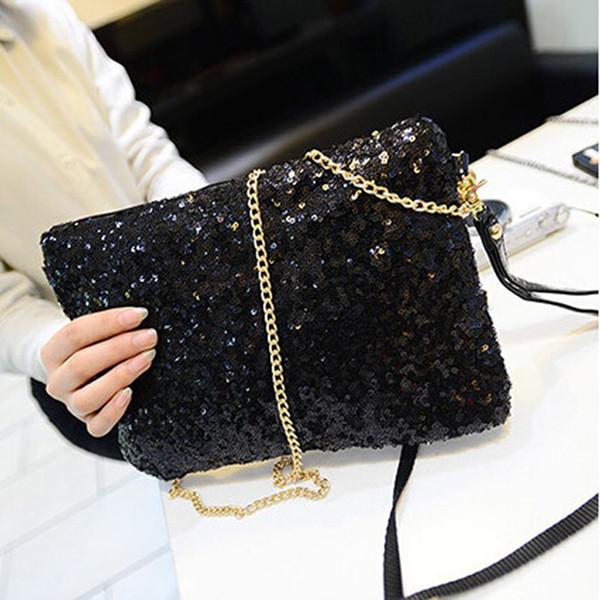 Bolso de las mujeres del brillo de lentejuelas de lujo del partido espumoso de lujo del sobre del embrague del bolso de la cartera de las señoras del monedero del bolso del bolso de Crossbody