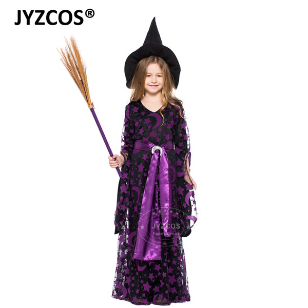 Girls Costumes JYZCOS Kids Witch Costume Baby Girls Halloween Party Costumes Purple Witch Fancy Dress Carnival Cosplay Costume