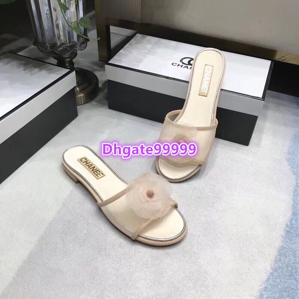 high end women girls slippers mule leather with mesh tulle camellia flat moccasins slip-on vintage gladiator loafer summer 19 runway shoes