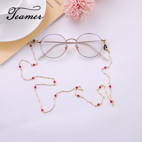 Teamer 78cm Occhiali da sole in metallo color oro rosa Catena Moda donna Occhiali da sole in pietra rossa Occhiali da vista Cordino per cinturino Accessori per occhiali