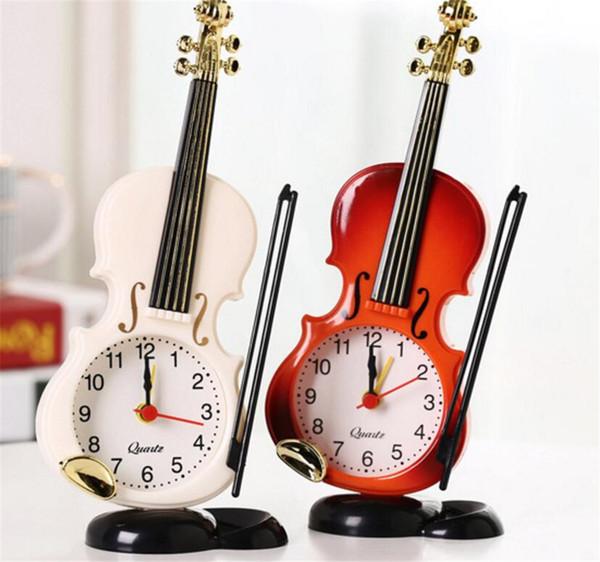 Mini Creative Violin Shape Alarm Clock for Office Home Decor Craft Student Desktop Gift for Boys, girls B2191