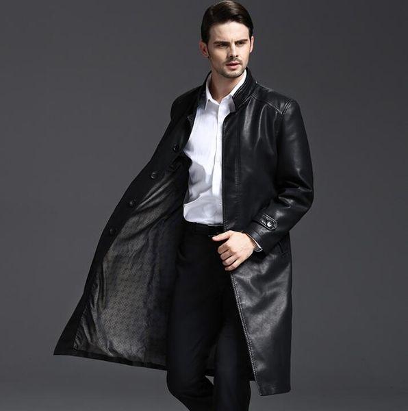 Collare del basamento 219 autunno lunghi cappotti di pelle uomini casual doppio petto in pelle mens trench cappotti moda nero M - 3XL