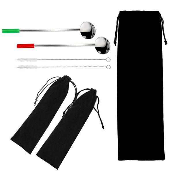 10 * 30 cm bolsa de lazo de terciopelo negro para la paja cuchillería cuchara vajilla portátil bolsa de almacenamiento de viaje bolsas de transporte