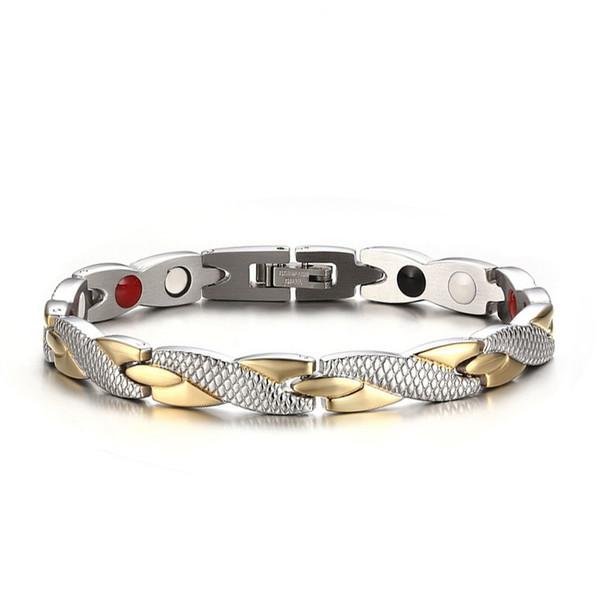2019 Bracelet de thérapie magnétique en acier inoxydable aimants en bonne santé Bracelets Bracelet cadeau de soins de santé pour femmes hommes bijoux or argent B815S F
