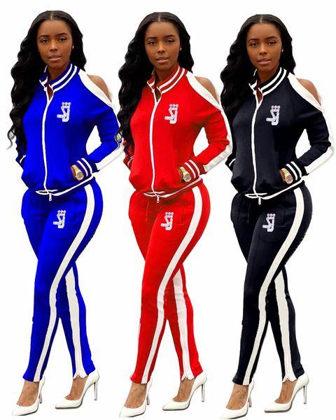 Женщины Марка Двухкусочный набор случайных костюмы выдалбливают длинный рукав куртки леггинсы осень-зима Одежда Спортивная экипировка тонкий Jogger костюм 2270