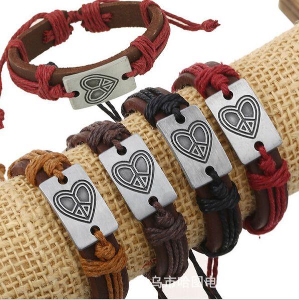 Ten Element Shop Product Genuine Leather Cowhide Bracelet Love Peace Lovers Hand String Bracelets