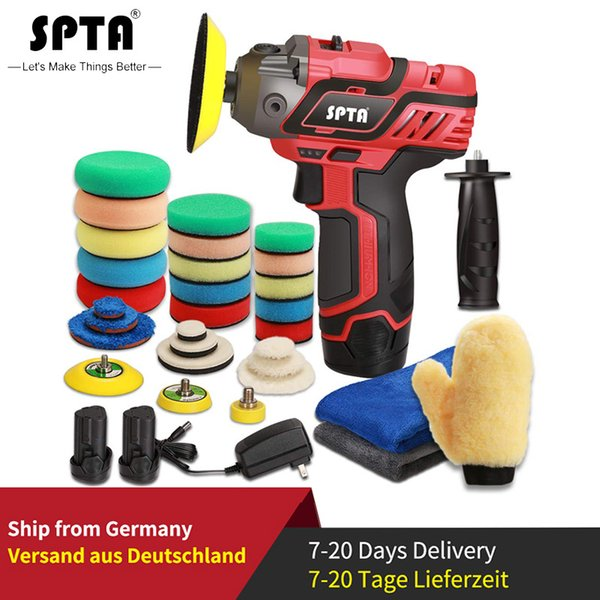 best selling SPTA 12V Cordless Car Polisher Drill Driver Variable Speed Polisher With 1500mAh Li-ion Battery and Polishing Pads Accessories