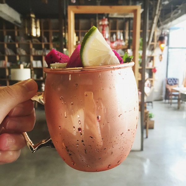 top popular 3 Styles Copper Mug 304 Stainless Steel Beer Cup Moscow Mule Mug Rose Gold Hammered Copper Plated Drinkware 530ml C6127 2021