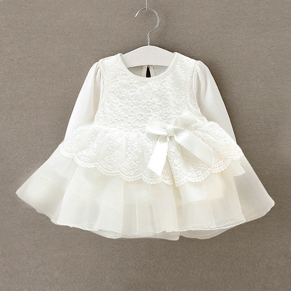 New Born Girl Vestido Infantil Bebe White Lace Baby Dress Wedding Party Gowns Long Sleeves Girls Baptism 1 Year Q190518