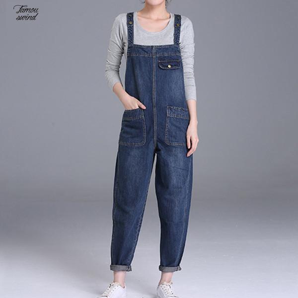 Women/'s Denim Jeans Jumpsuit Black Overall Skinny Legs Jeans Size 6-14 HOT
