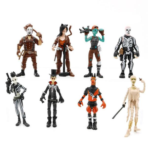 8 Fort Estilo nite juguetes muñeca de plástico de 10 cm Nuevos niños de dibujos animados juego de llama esqueleto de papel Figuras de acción juguetes para niños