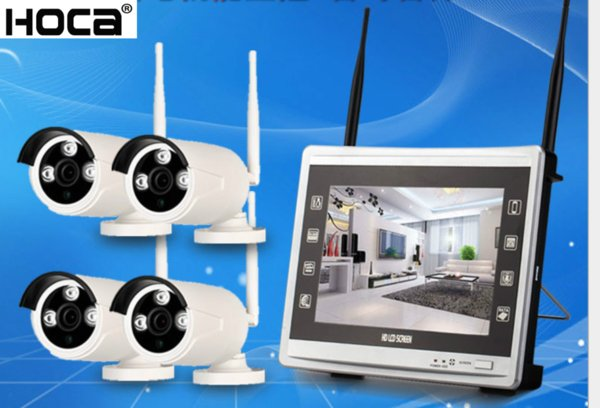1080P HD 4ch Plug And Play 12 Inch LCD Screen Wireless NVR Kit CCTV System WIFI IP Camera Outdoor IR Security Camera