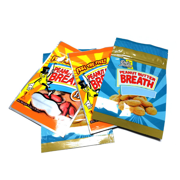 top popular Peanut Butter Breath Bag Smell Proof Mylar Bags with Ziplock Stand Up Pouch Packaging Bags 3.5 gram DHL Free 2020