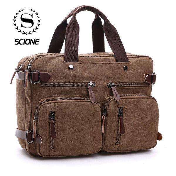Scione Men Canvas Bag Leather Briefcase Travel Suitcase Messenger Shoulder Tote Back Handbag Large Casual Business Laptop Pocket J190721