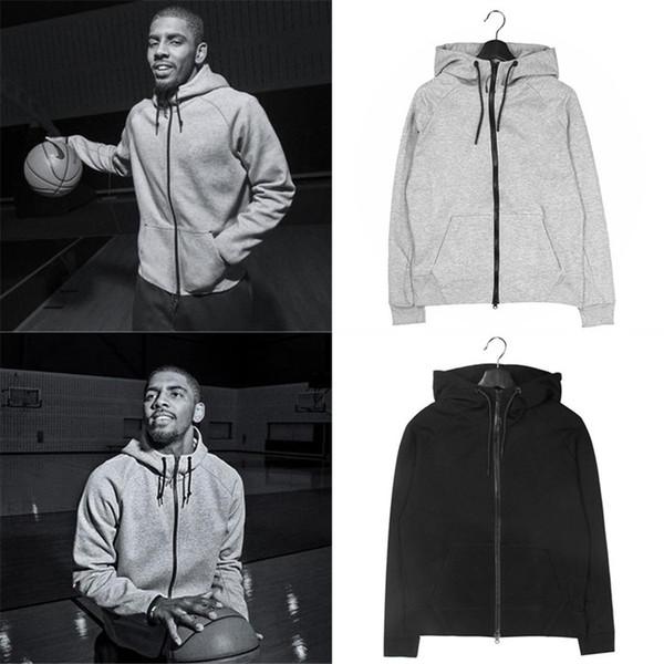 2019 NOUVEAU Logo Basketball Star LOGO Sportwear Hommes Male Sweats Sweats À Capuche Survêtement Noir et Gris pour Automne Hiver S-3XL