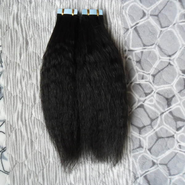 Coarse Yaki Tape in Extensions Human Hair 100% Real Remy Hair Skin Weft 100G 40Pcs kinky straight Tape Hair