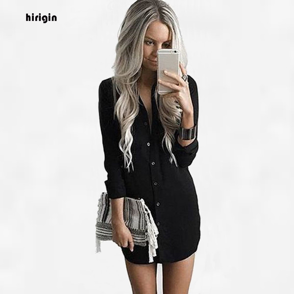 HIRIGIN Womens Blouses Fashion Autumn 2017 Long Sleeve Button Shirt Women Shirts Tops Cotton Formal Blouse Clothing