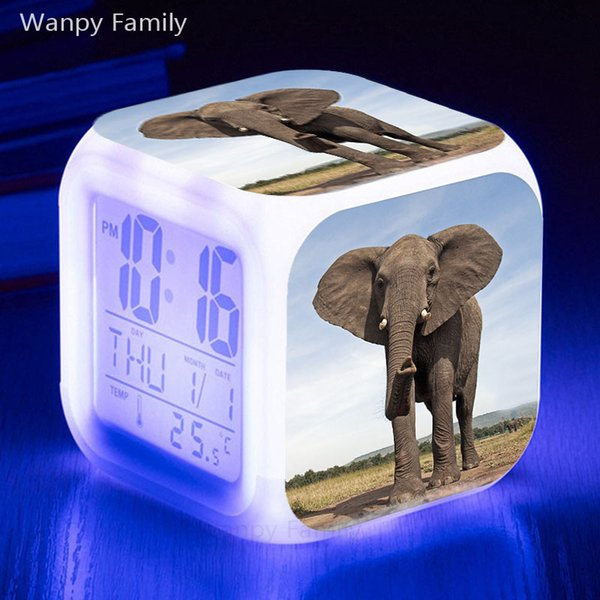 Africa Elephant Alarm Clock 7 Color Glowing LED Touch Sensing Alarm Clock Kids Room Multifunctio Digital Flash Watches