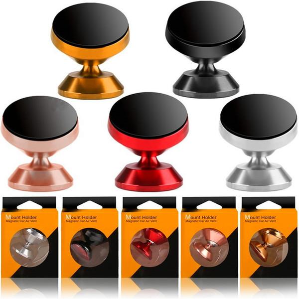 Soporte para teléfono magnético Soporte para teléfono magnético Soporte para teléfono de rotación de aleación de 360 grados Soporte para iphone 7 8 x samsung s8 s9 gps mp3 con caja de venta