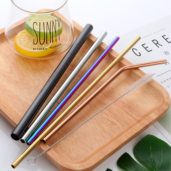 4pcs/lot Stainless Steel Drinking Straws +1 Brush Reusable Bent Stainless Filter Straw Metal Drink Yerba Mate Tea Bar Accessorie C18112301