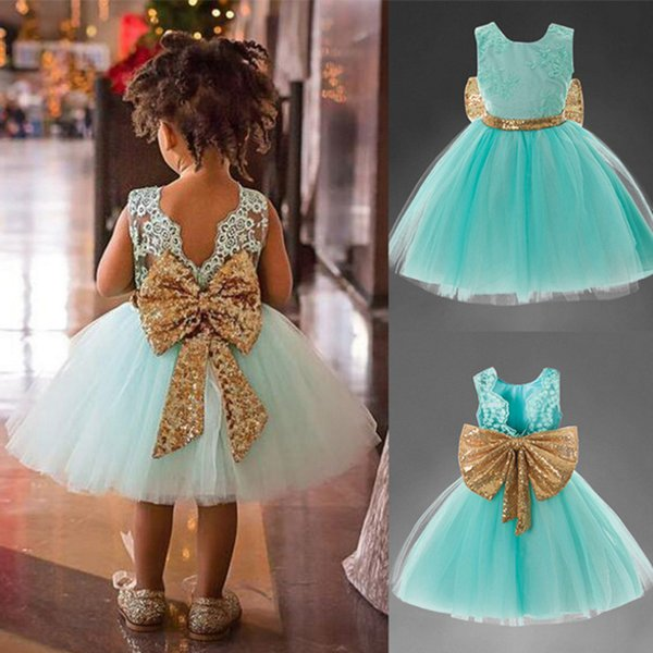 2019 Fashion Baby Girls Princess Designed Tutu Fluffy Party Dress Sleeveless Backless Cute Clothing Children Wedding Party Gifts