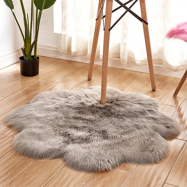 Weiche Künstliche Schaffell-Stuhl-Abdeckung Blume Rund Schlafzimmer Teppich Warm Hairy Teppich Sitz Wolle Textil-Pelz-Vorleger Wärmen