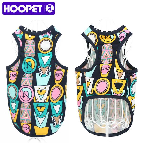 HOOPET Küçük Pet Köpek Giyim Gömlek Yelek Renkli Dikiş Karikatür Tasarım Kedi Yaz Giyim Kostüm