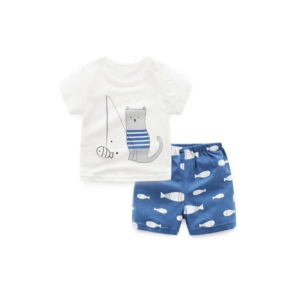 Summer new baby underwear suit pure cotton short-sleeved shorts summer suit 2 suits for boys and girls