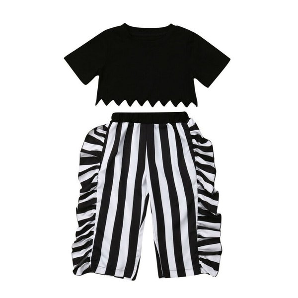 Hot Sell Toddler Girls Casual Outfits Fashion Kids Clothing Sets Short Sleeve Tops +Falbala vertical stripe Pants 2pcs Suits Y2368