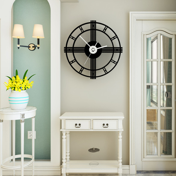 Creative Acrylic Wall Clock Modern Circular Silent Movement Home Decoration Quartz Clocks For Living Room Bedroom Black H01