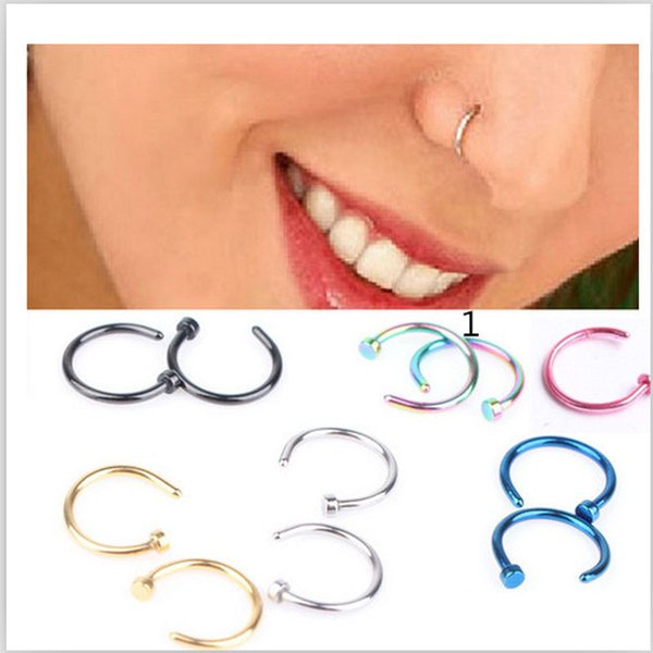 1pcs Medical Nostril Titanium Gold Silver Nose Hoop Nose Rings clip on ring Body Fake Piercing Piercing Jewelry For Women