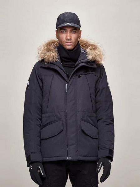 Kapşonlu Kürk Coats Down 2020 ANTARKTİKA Marka Kış Erkekler Açık Mat Aşağı Ceket Casual Sıcak Ceketler Parkas
