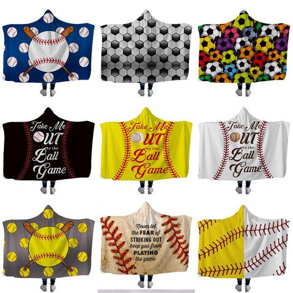 top popular NEW Baseball Softball Hooded Blanket Sports ball Throw Blankets with Hood Soft warm Sherpa Fleece Home Blankets Wrap for children 2021