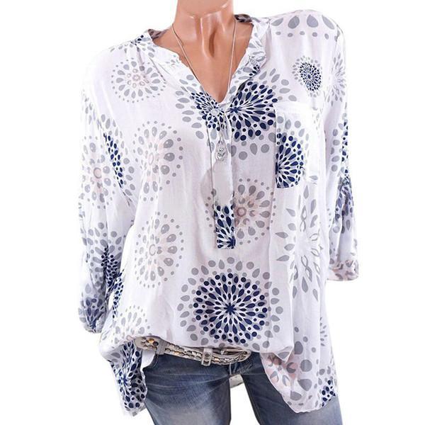 2019 Весна Лето Женщины Шифон Блузки Повседневная С Длинным Рукавом Рубашки Старинные Печати Женская Блузка Плюс Размер Одежды