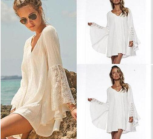 Summer Women Vintage Hippie Boho Bell Sleeves Gypsy Festival Holiday Sexy Lace Mini Dress White Beige