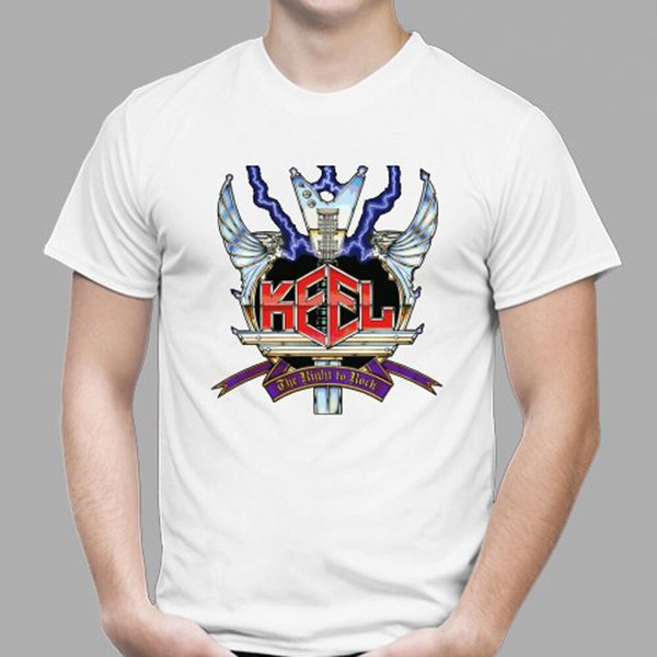 New KEEL *THE RIGHT TO ROCK Metal Rock Men's White T-Shirt Size S to 3XL