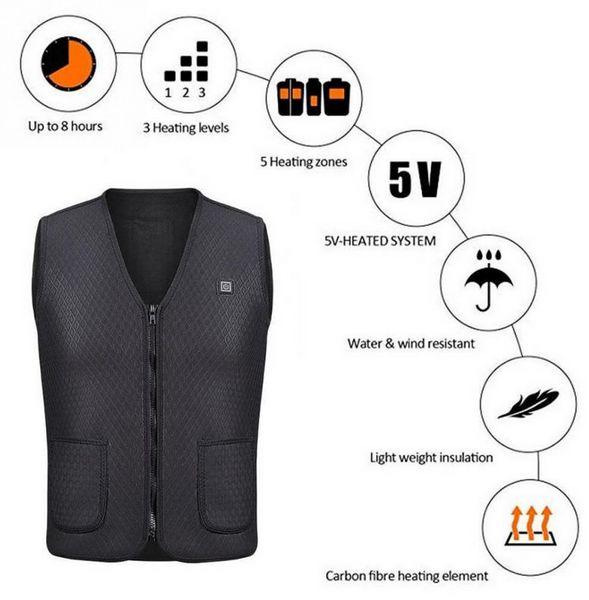 Uomo Donna Outdoor USB infrarossi riscaldamento giacca giacca invernale flessibile elettrico abbigliamento termico gilet per escursioni sportive