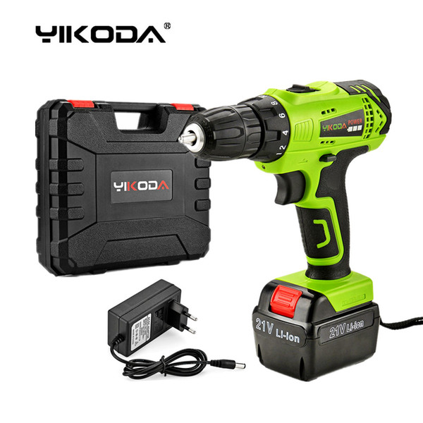 best selling Free Shipping 21v Cordless Screwdriver Battery Rechargeable Cordless Drill Electric Drill One Lithium Battery One Charger Plastic Case