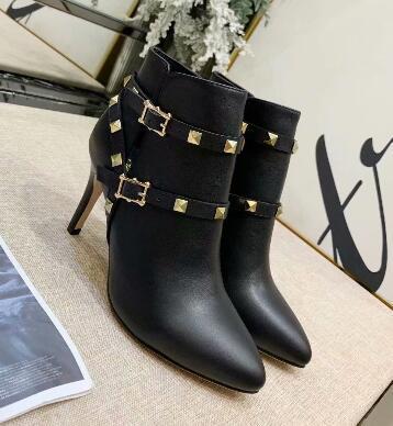 Mais recente de Alta qualidade Mulheres Inverno ankle boots couro Genuíno stiletto calcanhar Duplo fivela rebites Martin botas ponto toe sapatos de casamento