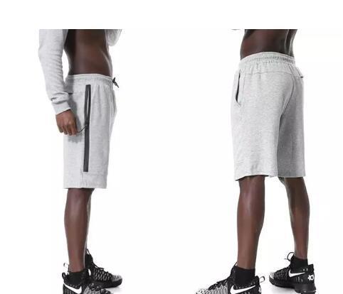 Moda-Tech Velo Esporte Shorts N bolso Com Zíper calças de Desporto calças casuais Cinza Preto S-XL