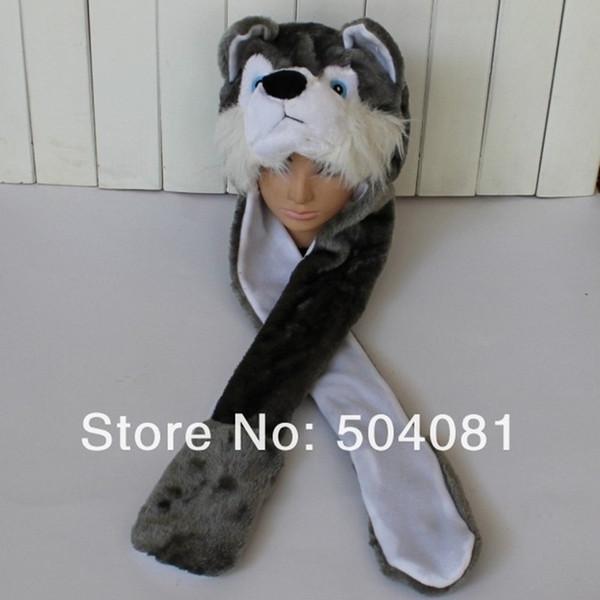 2017 Hot sale cute Plush Cartoon wolf / husky Hats Fluffy Warm animal 3 in 1 Multi-function hat Scarf Gloves Cap Free Shipping